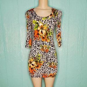 Leopard flowers bodycon 3/4 sleeves black white